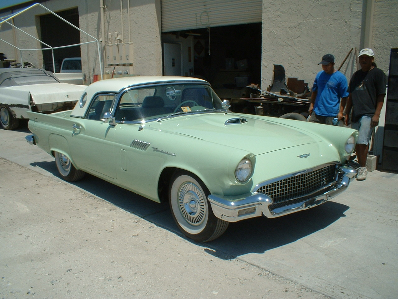 THESE ARE PICTURES OF A NICE 1957 T- BIRD WE DID A LITTLE METAL WORK